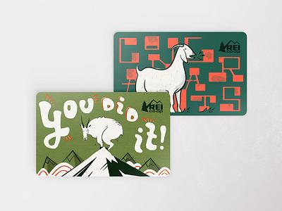Goat Gift Cards for REI goat animal graphic design design illustration