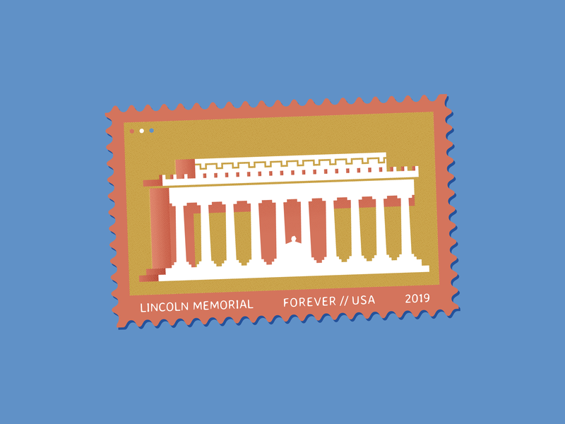 Lincoln Memorial Stamp lincoln memorial washington dc vector identity graphic design illustration stamp design stamp