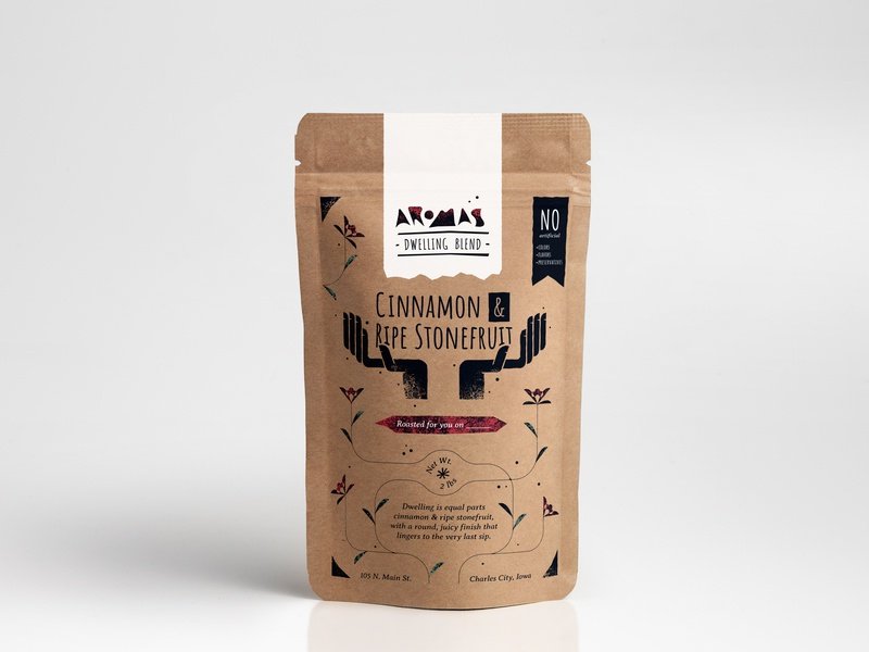Aromas Coffee Blend Package Design flowers hands design branding identity illustration label design graphic design package design packagedesign