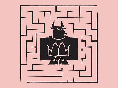 Mythopoeic Minotaur vocabulary vector design logo identity graphic design illustration