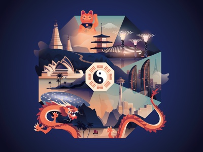 Cover illustration for 'Silkroad' magazine magazine asia travel feng shui airlines pacific cathay silkroad illustration