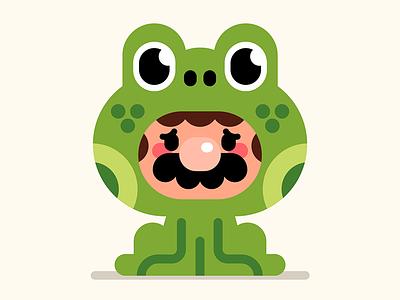 Anxiety Mario vector character super mario bros 3 frogs frog suit mario