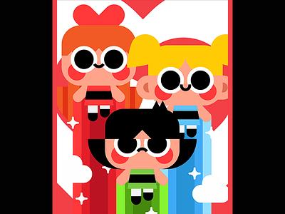 The Powerpuff Girls vector illustration poster character cute cartoon network powerpuff girls the powerpuff girls