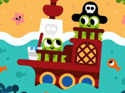 Pirate frogs pirate kidsbook kids frogs animals kawaii illustration vector cute character