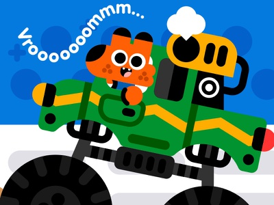 Vroooomm.. book kids kidslit vector illustrator illustration kawaii fox animal vehicle monster truck