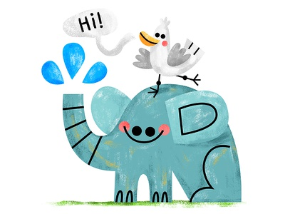 Good morning, y'all! fun read book kids kidslit texture illustrator illustration grass water happy elephant
