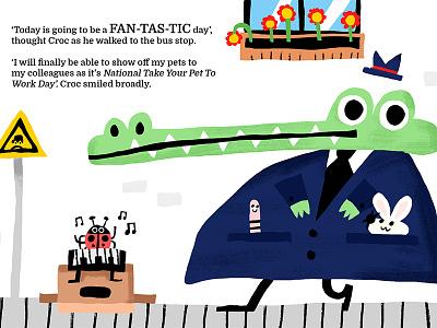 A FAN-TAS-TIC day! cool quirky fun illustrator illustration kids book read bunny worm croc
