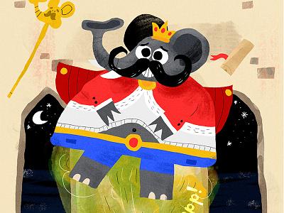 King Kandula night drawing fun illustration illustrator kids gold elephant king