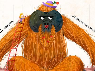 Orangutan animal kids illustrator illustration fun orangutan drawing draw orange ape colour book