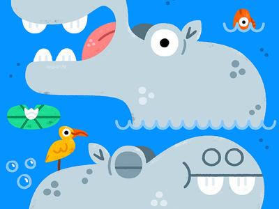 Hippopotamus illustration illustrator friendly cute animal hippopotamus hippo