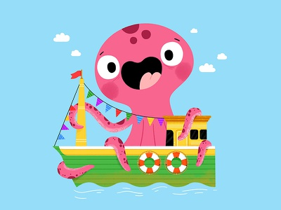 Party boat fun cute drawing kidslit animals illustrator illustration kids