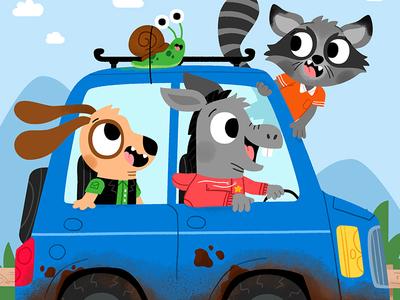 Car fun cute drawing kidslit animals illustrator illustration kids