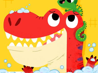 Rex's bathtime 🛀 fun cute drawing kidslit animals illustrator illustration kids