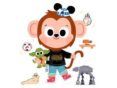 May the 4th monkey star wars star disney fun cute drawing kidslit animals illustrator illustration kids