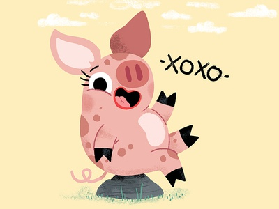 -XOXO- brush illustrator illustration fun piggy animals kidslit kids