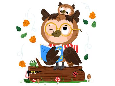 Autumn Owl brush illustrator illustration fun owl animals kidslit kids