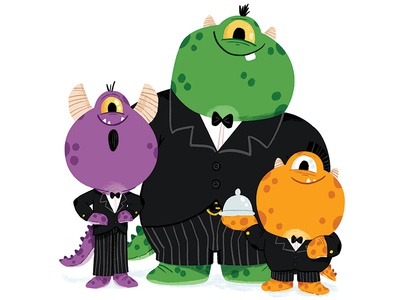 A monstrous night out colour book character kidslit fun kids cute illustrator illustration