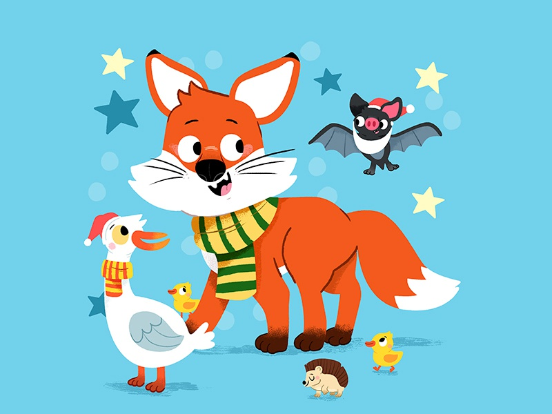 Fox and friends disney characters colour toddler animal book character drawing animals kidslit fun kids illustrator cute illustration