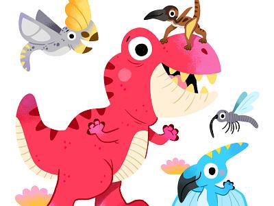 Jurassic friends love art characters draw kawaii colour toddler animal book character drawing animals kidslit vector fun cute kids illustrator illustration