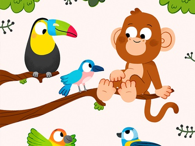 Jungle friends characters draw kawaii colour toddler book animal character drawing animals fun kidslit vector kids illustrator cute illustration