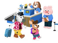 Aéroport animal drawing character animals kidslit fun kids cute illustrator illustration