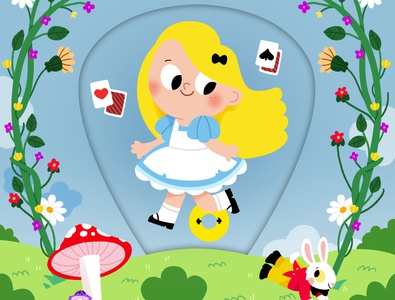 Alice character drawing animals vector kidslit fun kids illustrator cute illustration