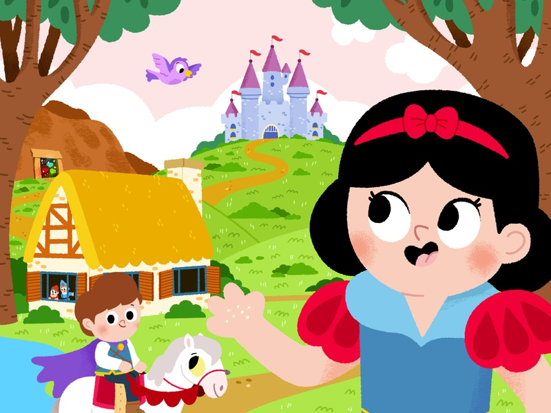 Snow White character drawing animals vector kidslit fun kids illustrator cute illustration
