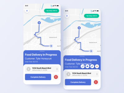 Food Delivery - Driver's View design react native app interactions apple delivery app modern ux ui