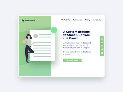 Custom Resume Designer Website minimalist abovethefold landing home page design modern ux ui job search resume template green resume cv resume
