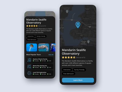 Museum and Observatory Locator tourism tours directions learning museum location app location mobile app mobile app design modern ux ui