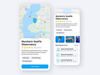 Museum and Observatory Locator app design beach ocean sealife tourism tours tour local location locator museum modern ux ui