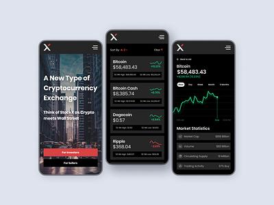 XChange Cryptocurrency Exchange - Dark cryptocurrency crypto wallet crypto stocks coinbase dogecoin bitcoin cash money dark mode mobile ui dark ui dark modern ux ui