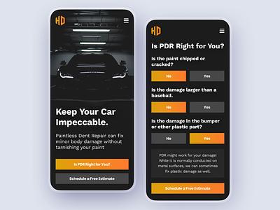 Auto Dent Repair Website mobile design mobile web auto repair automotive vehicle vehicles cars modern test questionnaire mobile ui mobile mobile responsive mobile repair