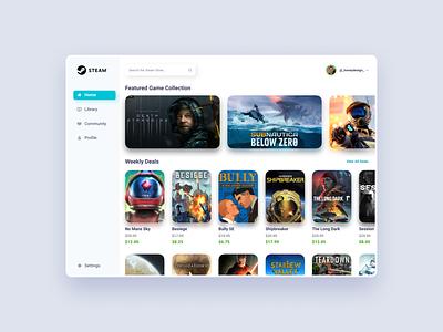 Steam Homepage Redesign modern ux ui video game game store store pc game pcgames videogame steam