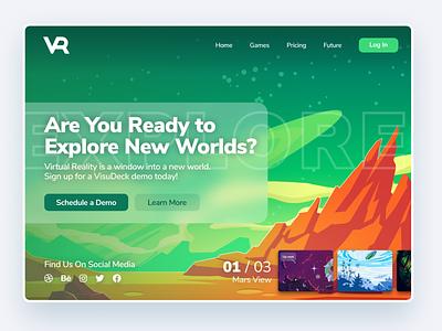 VR Explorer Landing Page dribbble dribbblers social media technology new technology service vr demo demo video games exploration vr virtual reality custom illustration illustration branding