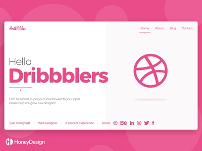Hello Dribbblers! debuts debut typography branding web app icon ui ux fashion clothing money cryptocurrency modern minimalist blog technology website landing page landing home page