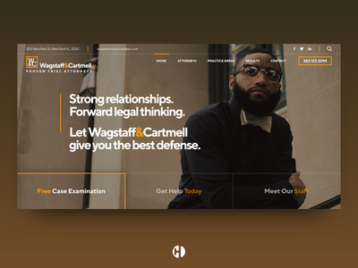 Wagstaff & Cartmell ui ux web above the fold abovethefold landing page branding design home page minimalist typography modern lawyer logo lawyers lawyer law enforcement law office law firm lawfirm law