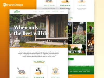 Tims Lawn Care and Landscaping service app service design service simple local outdoor mockup outdoor bright landing page landscape design landscaper landscape land