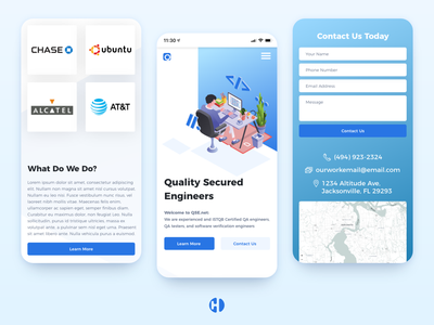 Quality Secured Engineers Mobile Design vector developer app logo illustration icon above the fold abovethefold branding typography landing page ux minimalist design landing ui home page modern mobile app mobile