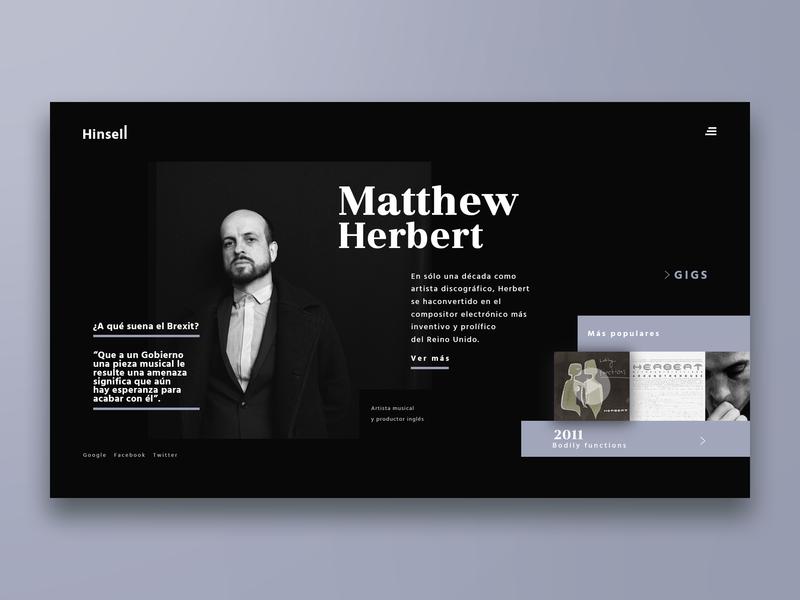 Hinsell / Music Website website web design web ui typography music player music minimalist landing page