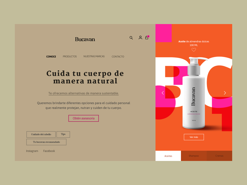 Bucavan Homepage product page shop ecommerce design homepage product design ui ux web webdesign