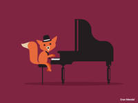Fox vector animal piano fox music 2d motion gif animation character loop