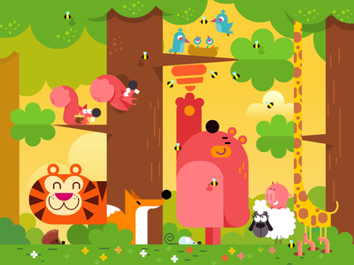 Animals  hedgehog fox giraffe tree pig bird squirrel tiger sheep bear animals