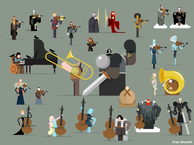 Farewell party snow sansa daenerys westeros music motion design minimal motion flat 2d game of thrones characters vector illustration got gif eran mendel animation character loop