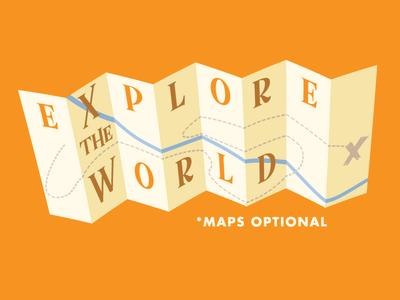 Explore The World - Take 2 vintage illustration shirt design outdoors hiking exploring