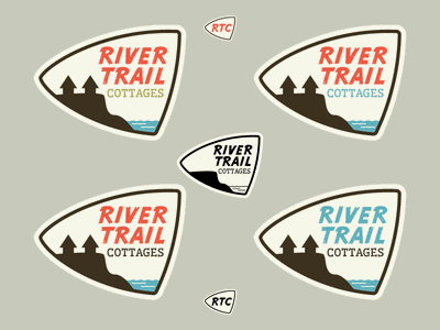 River Trail Cottages - Round 1 vintage work in progress wip logos logo branding outdoors mid-century modern retro