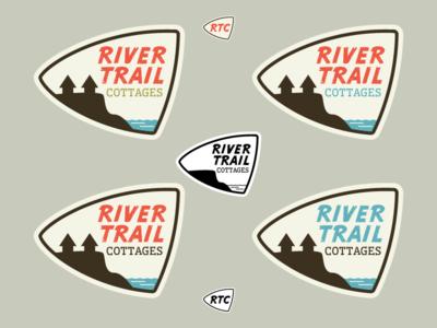 River Trail Cottages - Round 1 vintage work in progress wip logos logo branding outdoors mid-century modern retro