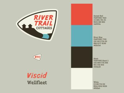 River Trail Cottages - Branding Guide Quickie branding guide vintage logos logo retro mid-century modern outdoors branding