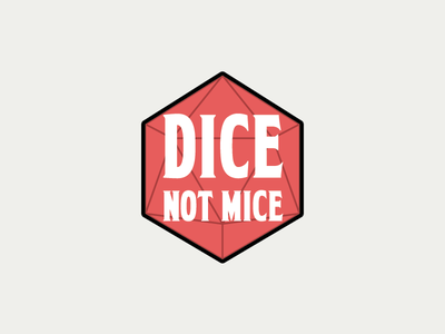 Dice Not Mice Updated dungeons and dragons d20 vector rpg design branding illustration