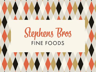 Stephens Bros Fine Foods midcentury modern typography vector design vintage branding
